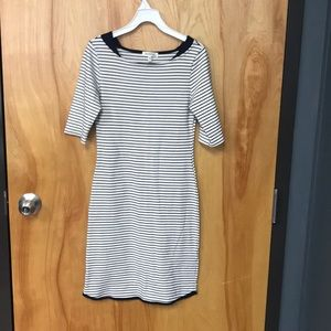 Quarter sleeve striped dress.